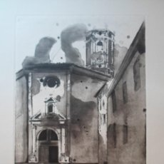 Art: RAMÓN LAPAYESE (MADRID 1928-FLORIDA 1994) GRABADO 1984 PERALTA DE LA SAL HUESCA CALASANZ DE 36X25 EN. Lote 277590768