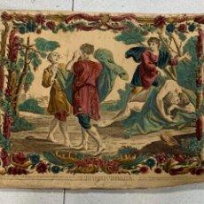 Arte: GRABADO S XVIII COLOREADO NOE BEBE VINO Y SE EMBORRACHA PASAJE BIBLIA GENESIS 43X53CMS. Lote 277628228