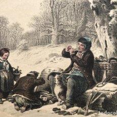 Arte: FAMILIA EN LA NIEVE, 1850. PAYNE / HILDEBRANDT. Lote 277685158