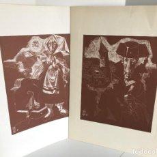 Arte: 6 GRABADOS. JUAN ANTONIO ALDA. MOZA CASTELLANA. AUTORIDAD. PÁRROCO. ALCALDE. MATADOR. ZAPATILLAS.. Lote 277688078