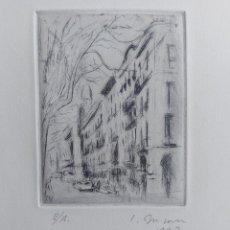 """Arte: S. BUSOM"""" LAS RAMBLAS DE BARCELONA""""GRABADO 1977. Lote 278403178"""