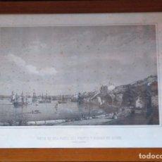 Arte: VISTA DE UNA PARTE DEL PUERTO Y CIUDAD DE MAHON. 1850, OBRA DE JOAN FONT Y VIDAL.. Lote 278422753