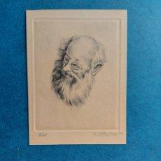"""Arte: R. RIBAS RIUS """" ANCIANO BOHEMIO"""" GRABADO 1960. Lote 278601628"""