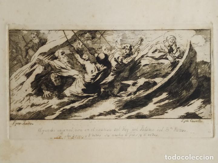 GRABADO JOSÉ CASTILLO DE OBRA DE LUCAS JORDÁN LA TEMPESTAD DE CRISTO PALACIO BUEN RETIRO (Arte - Grabados - Antiguos hasta el siglo XVIII)