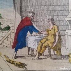 Arte: 6 GRABADOS COLOREADOS ANTIGUO BIBLICAS ESAUL JACOB SE. XVLLL. Lote 279525818