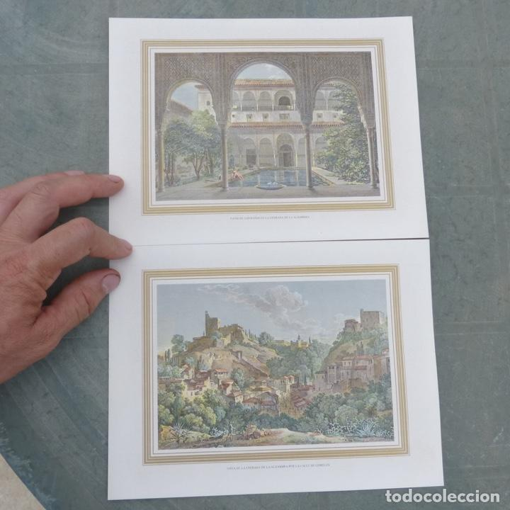 2 GRABADOS ILUMINADOS, ENTRADA DE LA ALHAMBRA CALLE GOMELES Y PATIO DE LOS BAÑOS CON CHICA DESNUDA. (Arte - Grabados - Modernos siglo XIX)