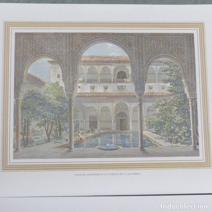 Arte: 2 grabados iluminados, entrada de la Alhambra calle gomeles y patio de los baños con chica desnuda. - Foto 2 - 280407108