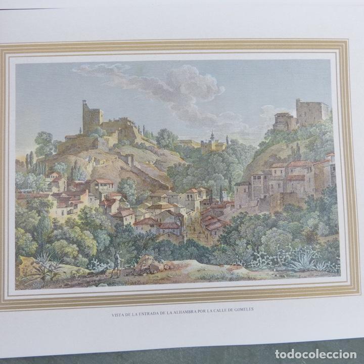 Arte: 2 grabados iluminados, entrada de la Alhambra calle gomeles y patio de los baños con chica desnuda. - Foto 3 - 280407108