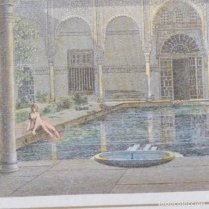 Arte: 2 grabados iluminados, entrada de la Alhambra calle gomeles y patio de los baños con chica desnuda. - Foto 4 - 280407108