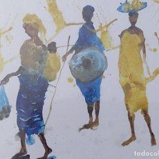 Arte: MIQUEL BARCELÒ. MARCHÉ DE SANGHA. GOUACHE SOBRE PAPEL. REPRODUCCIÓN OFFSET. FRANCIA.. Lote 281873443