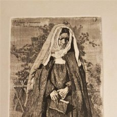 """Arte: MARIANO GARCÍA Y MÁS (VALENCIA ,1858-1911) """"REZANDO"""". GRABADO AL AGUAFUERTE 21 X 11´5 (39 X 27). Lote 284514973"""