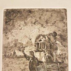 """Arte: MARIANO GARCÍA Y MÁS (VALENCIA ,1858-1911) """"A LA ORIILA DEL RIO"""".GRABADO AL AGUAF 19 X 11 (53 X 39). Lote 284515833"""
