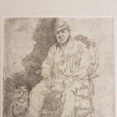 """Arte: MARIANO GARCÍA Y MÁS (VALENCIA ,1858-1911) """"FIGURA Y GATO"""".GRABADO AL AGUAF 10 X 8´5 (26´5 X 19´5)). Lote 284545488"""