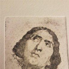 """Arte: MARIANO GARCÍA Y MÁS (VALENCIA ,1858-1911) """"ESTUDIO DE CABEZA"""".GRABADO AL AGUAF 8`5 X 6´5 (26 X19)). Lote 284545603"""