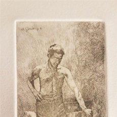"""Arte: MARIANO GARCÍA Y MÁS (VALENCIA ,1858-1911) """"MAESTRO DE ESGRIMA"""".GRABADO AL AGUAF 12 X 6 (53 X 39). Lote 284545688"""