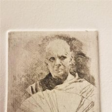 """Arte: MARIANO GARCÍA Y MÁS (VALENCIA ,1858-1911) """"MI MADRE"""".GRABADO AL AGUAF. 9 X 6 (26´5 X 19´5). Lote 284545853"""