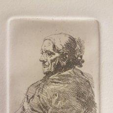 """Arte: MARIANO GARCÍA Y MÁS (VALENCIA ,1858-1911) """"ESTUDIO ANCIANA"""".GRABADO AL AGUAF 10 X 7 (26´5 X 19´5)). Lote 284545973"""