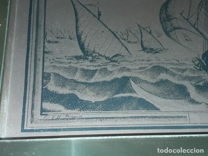 Arte: Bello grabado sobre cobre barcos y Carabela Peter Bruegel con moldura de metal dorado - Foto 5 - 285089708