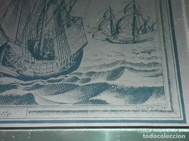 Arte: Bello grabado sobre cobre barcos y Carabela Peter Bruegel con moldura de metal dorado - Foto 6 - 285089708