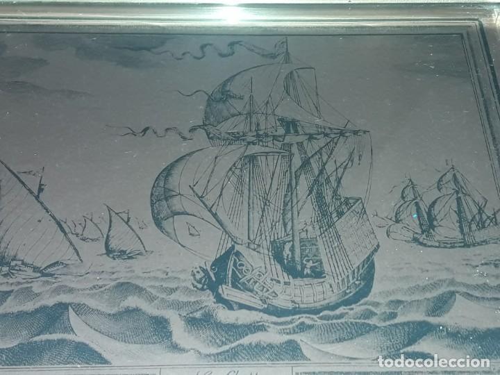 Arte: Bello grabado sobre cobre barcos y Carabela Peter Bruegel con moldura de metal dorado - Foto 7 - 285089708