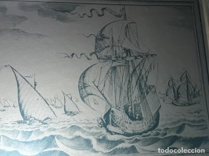 Arte: Bello grabado sobre cobre barcos y Carabela Peter Bruegel con moldura de metal dorado - Foto 8 - 285089708