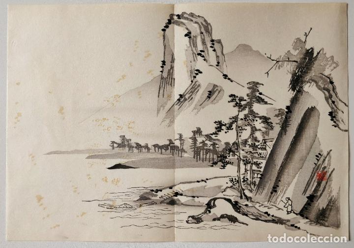 INTERESANTE GRABADO JAPONÉS ORIGINAL SIGLO XIX, SUMI-E, UKIYOE, GRAN CALIDAD, SUTIL PINCELADA (Arte - Grabados - Modernos siglo XIX)