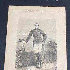 Arte: XILOGRAFÍA CARLISMO. RETRATO DE DON CARLOS 1872. 37X25,50 CM. BUEN ESTADO.. Lote 286847643