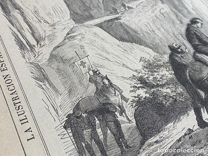Arte: XILOGRAFÍA CARLISMO. CONDUCCIÓN HERIDOS OROQUIETA AMBULANCIA SOCORRO 1872. 37X25,50 CM. BUEN ESTADO. - Foto 3 - 286847863
