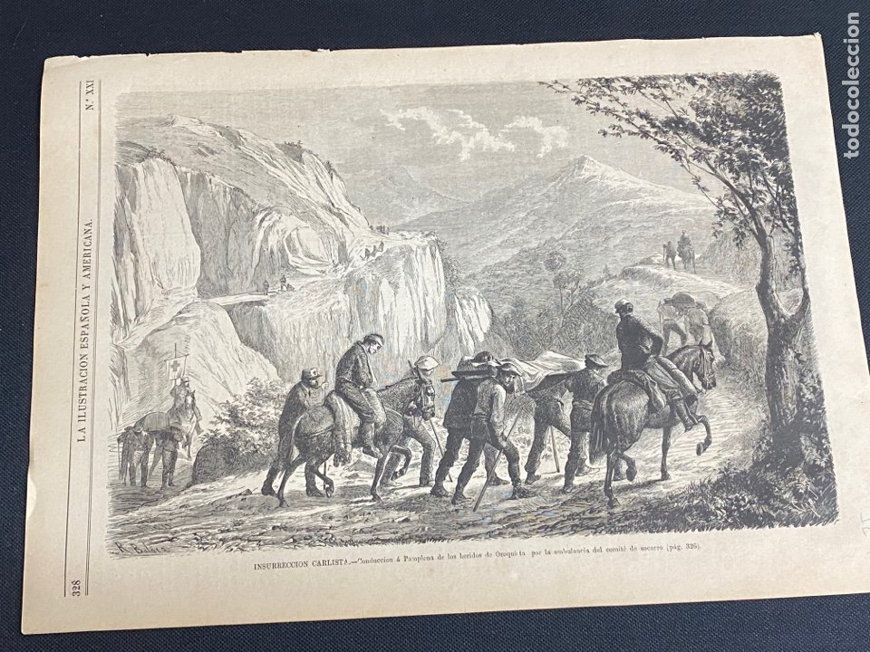 XILOGRAFÍA CARLISMO. CONDUCCIÓN HERIDOS OROQUIETA AMBULANCIA SOCORRO 1872. 37X25,50 CM. BUEN ESTADO. (Arte - Grabados - Modernos siglo XIX)