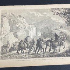 Arte: XILOGRAFÍA CARLISMO. CONDUCCIÓN HERIDOS OROQUIETA AMBULANCIA SOCORRO 1872. 37X25,50 CM. BUEN ESTADO.. Lote 286847863