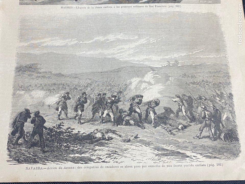 XILOGRAFÍA CARLISMO, ACCIÓN DE AZCONA 1872. 18X26 CM.. BUEN ESTADO. (Arte - Grabados - Modernos siglo XIX)