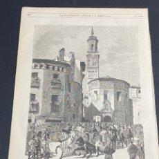 Arte: XILOGRAFÍA ZARAGOZA, LA MAGDALENA. CABALGATA FIESTAS DEL PILAR. BUEN ESTADO. 37X25,50 CM. 1872. Lote 286852968