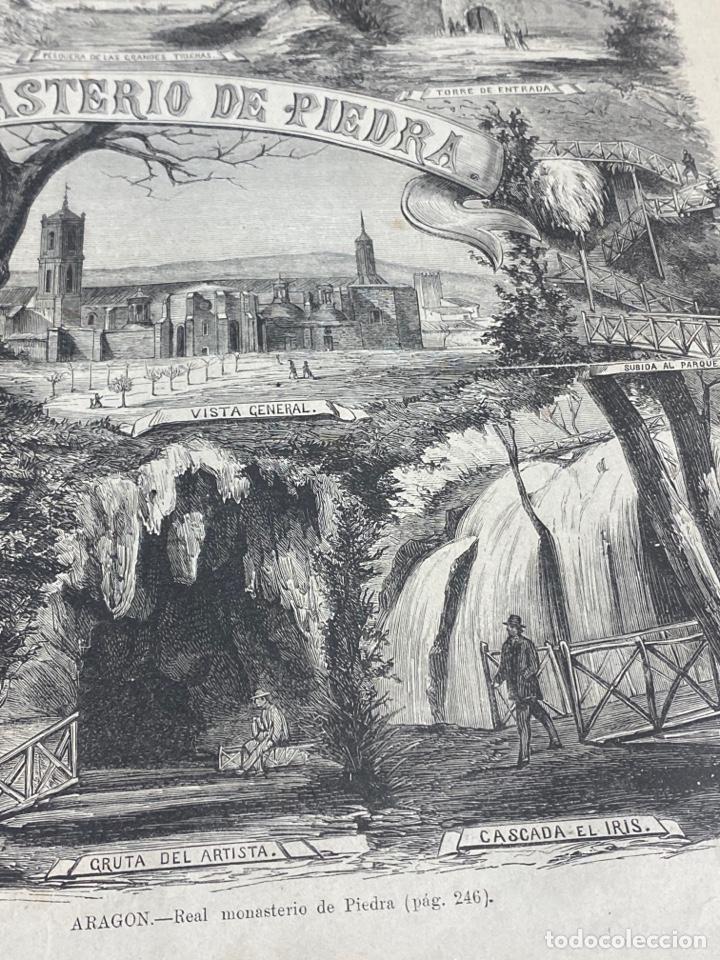Arte: XILOGRAFÍA ZARAGOZA, MONASTERIO DE PIEDRA. BUEN ESTADO. 37X25,50 CM. 1872 - Foto 2 - 286853673