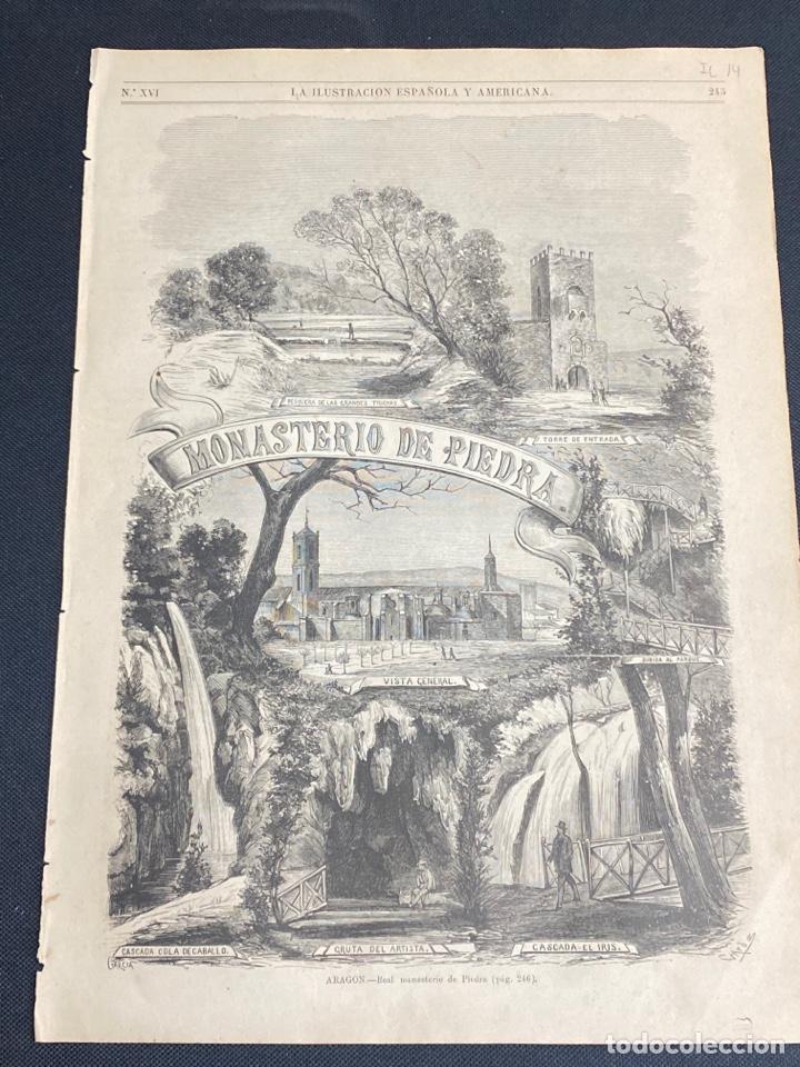 XILOGRAFÍA ZARAGOZA, MONASTERIO DE PIEDRA. BUEN ESTADO. 37X25,50 CM. 1872 (Arte - Grabados - Modernos siglo XIX)