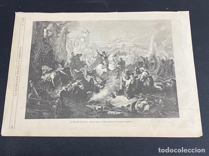 XILOGRAFÍA ZARAGOZA, SITIOS ZARAGOZA, BUEN ESTADO. 37X25,50 CM. 1872 (Arte - Grabados - Modernos siglo XIX)