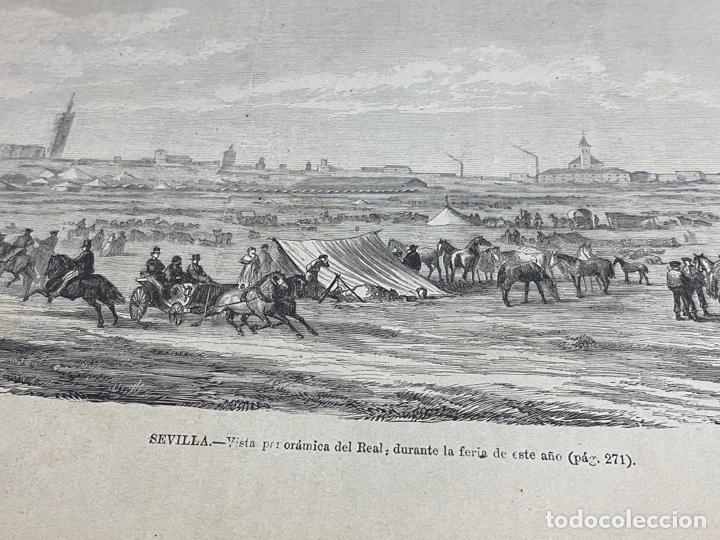 Arte: XILOGRAFÍA 1872. SEVILLA, PANORÁMICA DEL REAL. BUEN ESTADO. 37X25,50 CM. - Foto 2 - 286856643