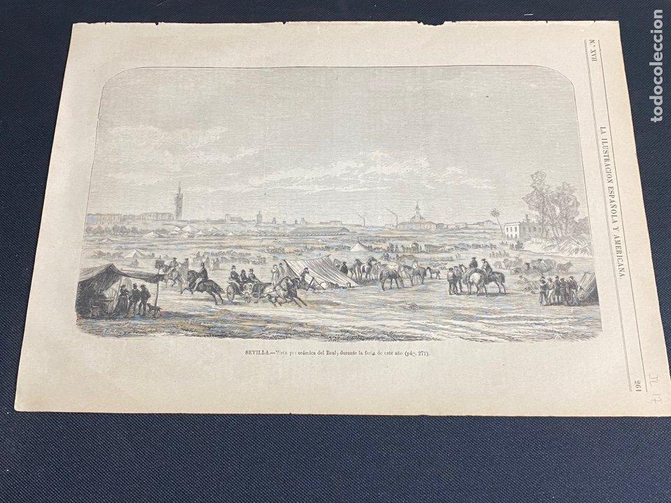XILOGRAFÍA 1872. SEVILLA, PANORÁMICA DEL REAL. BUEN ESTADO. 37X25,50 CM. (Arte - Grabados - Modernos siglo XIX)