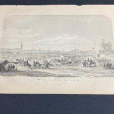 Arte: XILOGRAFÍA 1872. SEVILLA, PANORÁMICA DEL REAL. BUEN ESTADO. 37X25,50 CM.. Lote 286856643