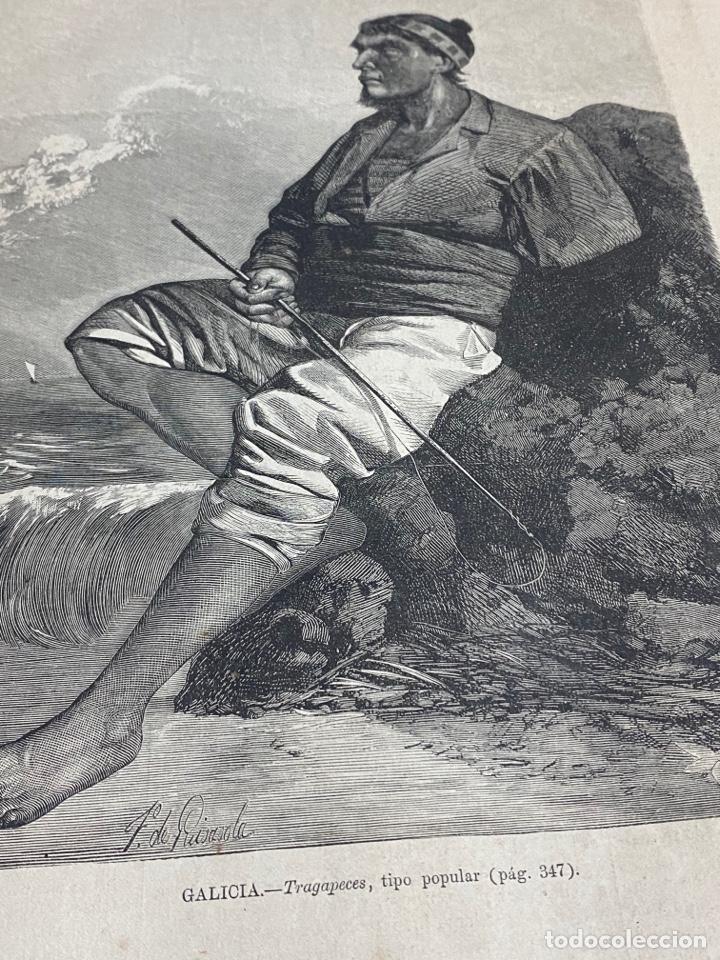 Arte: XILOGRAFÍA 1872.GALICIA, TRAGAPECES, TIPO POPULAR. BUEN ESTADO. 37X25,50 CM. - Foto 2 - 286856798