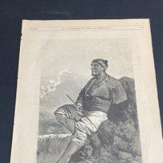 Arte: XILOGRAFÍA 1872.GALICIA, TRAGAPECES, TIPO POPULAR. BUEN ESTADO. 37X25,50 CM.. Lote 286856798