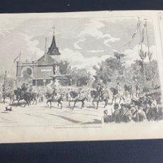 Arte: XILOGRAFÍA 1872. VALENCIA CABALGATA INAUGURACIÓN FIESTAS. BUEN ESTADO. 37X25,50 CM.. Lote 286857148