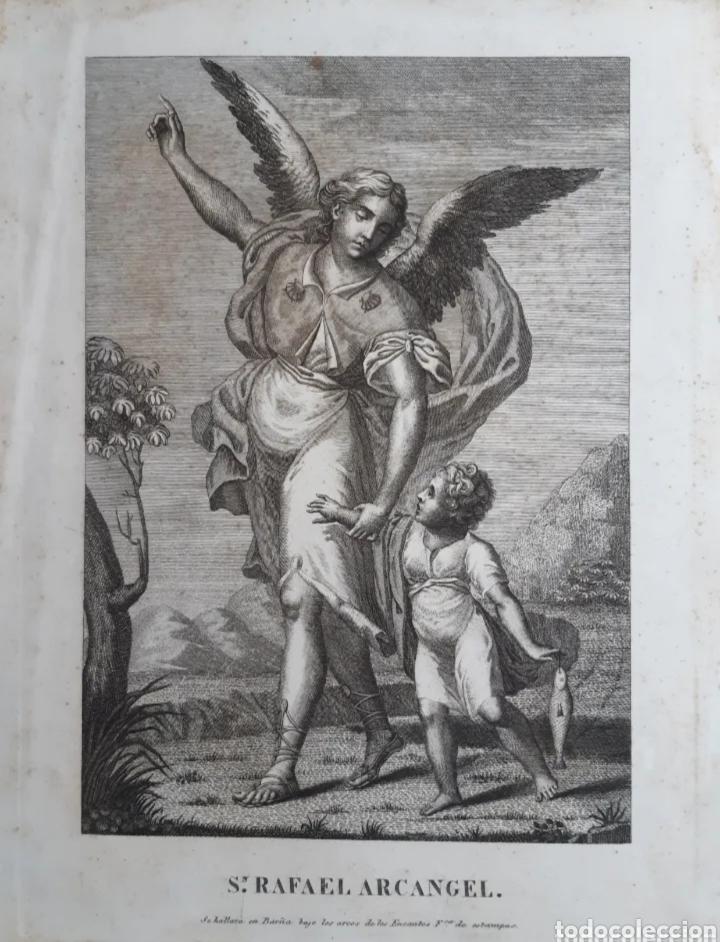 Arte: Grabado de Arcangel Rafael y Tobias. Siglo XVIII. LEER DESCRIPCIÓN ANTES DE PUJAR O COMPRAR. - Foto 3 - 287078913