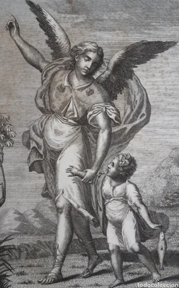 GRABADO DE ARCANGEL RAFAEL Y TOBIAS. SIGLO XVIII. LEER DESCRIPCIÓN ANTES DE PUJAR O COMPRAR. (Arte - Grabados - Modernos siglo XIX)