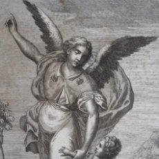 Arte: GRABADO DE ARCANGEL RAFAEL Y TOBIAS. SIGLO XVIII. LEER DESCRIPCIÓN ANTES DE PUJAR O COMPRAR.. Lote 287078913