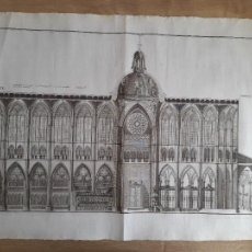 Arte: LEÓN, MAGNIFICO GRABADO DE LA SECCION DE LA NAVE CENTRAL, SIGLO XVIII. 62X45CM. Lote 287108573