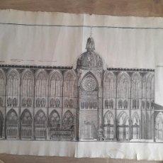 Arte: LEÓN, MAGNIFICO GRABADO DE LA SECCION DE LA CATEDRAL DE LEÓN. 62X44 CM. Lote 287108798