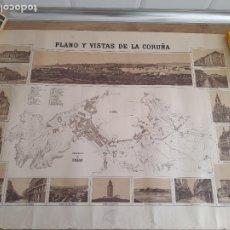 Arte: LA CORUÑA, MAGNIFICO PLANO Y VISTAS DE CORUÑA. 72X53CM.. Lote 287109478