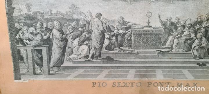 Arte: DISPUTA DEL SACRAMENTO. JOANNES VOLPATO. GRABADO SOBRE PAPEL. ITALIA. SIGLO XVIII - Foto 2 - 287239583