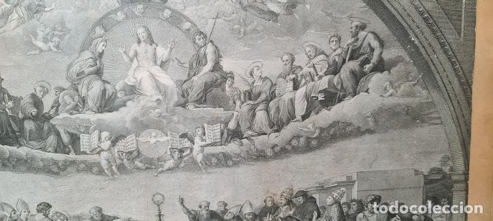 Arte: DISPUTA DEL SACRAMENTO. JOANNES VOLPATO. GRABADO SOBRE PAPEL. ITALIA. SIGLO XVIII - Foto 4 - 287239583