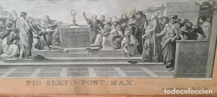 Arte: DISPUTA DEL SACRAMENTO. JOANNES VOLPATO. GRABADO SOBRE PAPEL. ITALIA. SIGLO XVIII - Foto 6 - 287239583